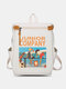 Men Women Causal Canvas Hip-hop Large Capacity Patchwork Backpack - White