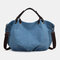 Women Canvas Solid Large Capacity Handbag Crossbody Bag - Blue