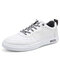 Men Leather Lace-up Casual Waterproof Shoes - Grey