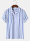 Mens Striped Casual Revere Collar Short Sleeve Shirt With Flap Pocket - Blue