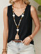 Solid Color V-neck Sleeveless Casual Tank Top For Women - Black