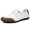 Men Colorblock Comfy Cowhide Leather Soft Sole Casual Shoes - White