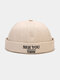 Unisex Cotton Solid Color Letter Embroidery All-match Brimless Beanie Landlord Cap Skull Cap - Beige