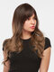 28 Inch Brown-Gold Gradient Long Curly Hair Middle Part Long Bangs Full Head Cover Wigs - 28 Inch