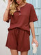 Waffles Knit Button Front Tee & Drawstring Shorts Solid Suit - Wine Red