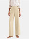 Solid Color Front Button High Waist Casual Pants with Pocket - Apricot