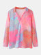 Print Lapel Collar Long Sleeve Casual Blouse For Women - Red
