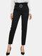 Color sólido Cintura Bolsillo Ajustado Largo Casual Pantalones para Mujer - Negro