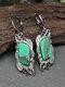 Alloy Bohemian Vintage Carved Malachite Geometric-shape Creative Flower Opal Earrings - Green
