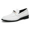 Men Brief Alligator Veins Pointed Toe Hard Wearing Slip-on Casual Business Shoes - White