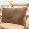 Striped Flannel Rectangular Pillowcase Backrest Cover Cushion Cover Pillowcase - Coffee