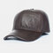 Men Genuine Leather Solid Color Ear Protected Plus Thick Casual Baseball Hat - Brown