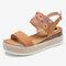 Lostisy Women Flowers Embroidered Slingback Espadrilles Buckle Platform Sandals - Brown
