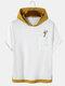 Mens Cartoon Giraffe Print Contrast Knit Drop Shoulder Hooded T-Shirts - White