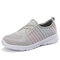 Women Breathable Knitted Comfy Slip On Casual Walking Sneakers - Grey