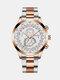 سبيكة غير القابل للصدأ أعمال فولاذية حزام كوارتز Watch تقويم ثنائي العين Watch - #09