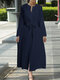 Solid Color Lace Patchwork Long Sleeves V-neck Casual Dress With Belt - Navy
