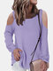 Solid Color Off-shoulder Long Sleeves Casual Blouse for Women - Purple