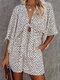 Leopard Print V-neck Tie Front Holiday Romper with Pocket - White