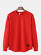 Mens Basic Solid Color Round Neck Curved Hem Casual Long Sleeve T-Shirt - Red