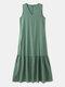 Solid Sleeveless V-neck Plus Size Ruffle Long Dress - Green