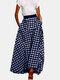 Freizeitrock mit karierter Auflage und elastischer Taille für Damen - Blau