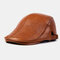 Collrown Men Genuine Leather Retro Casual Solid Keep Warm Winter Forward Hat Beret Hat - Brown
