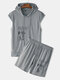 Men Two Pieces Sport Set Muscle Tracksuit with Short Sleeve Hoodie and Shorts in Grey - Gray