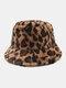 النساء والرجال صوف الحمل الدافئة Soft ليوبارد نمط عارضة شخصية دلو قبعة - بنى