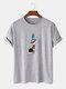 メンズ100%コットン無地漫画宇宙飛行士プリントルーズシンTシャツ - グレー