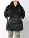 Men Thicken Warm Home Blanket Hoodies Oversized Sweatshirt With Double Handy Pocket - Black