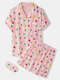 Women All Over Geometry Print Revere Collar Eye Cover Home Pajama Sets - Pink