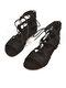 Women Large Size Solid Color Lace Up Flat Gladiator sandals - Black