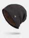 Men Winter Plus Velvet Striped Pattern Outdoor Knitted Warm Beanie Hat - Coffee