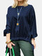 Solid Color Knotted Hem O-neck Long Sleeve Casual Blouse For Women - Navy