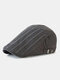 Men Cotton Solid Color Vertical Stripe Stitching Sunscreen Casual Beret Flat Caps - Gray