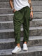 Casual Solid Color Pockets Harem Pants - Green