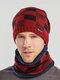 Men 2PCS Plaid Plus Velvet Thick Winter Outdoor Keep Warm Neck Protection Headgear Scarf Knitted Hat Beanie - Red