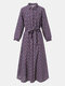 Floral Print Puff Long Sleeves Maxi Dress With Belt - Purple