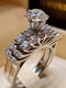 Trendy Geometric Metal Diamond Rings Temperament Rhinestone Rings - #06