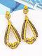 Vintage Alloy Elegant Drop-shape Earrings - Yellow