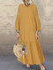 Solid Color Lantern Sleeves V-neck Plus Size Pleated Casual Dress - Yellow