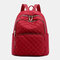 Women Large Capacity Argyle Casual Travel Backpack - Red