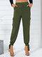 Bolsillo con botones anudado de color liso Largo informal Pantalones para Mujer - ejercito verde