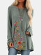 Vintage Floral Printed O-neck Long Sleeve Pullover T-shirt - Green