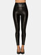 Solid Color Leather Long Base Leggings for Women - Black