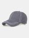 Men Washed Cotton Plain Color Baseball Cap Outdoor Sunshade Adjustable Hat - Gray