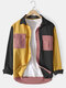 Mens 100% Cotton Colorblock Patchwork Cargo Style Long Sleeve Shirts With Flap Pockets - Yellow