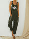 Daisy Floral Printed Straps Jumpsuit With Pocket - Army