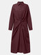 Solid Color Lapel Collar Knot Long Sleeve Button Casual Dress - Wine Red
